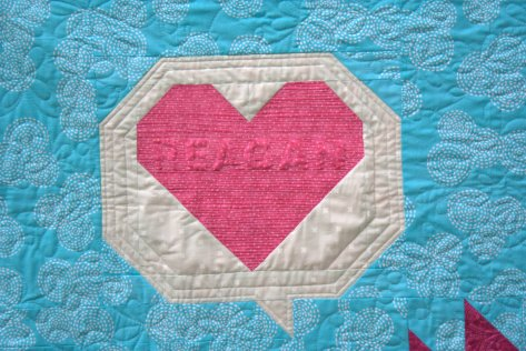 relief quilted name in heart
