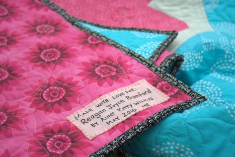 quilt label hand stitched