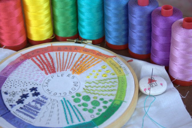 dropcloth rainbow wheel embroidery sampler and 12wt aurifil