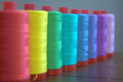rainbow of aurifil 12wt thread