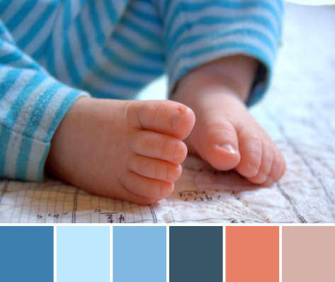 baby toes color palette turquoise peach