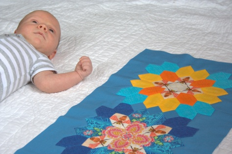 baby finn and table runner quilt top epp
