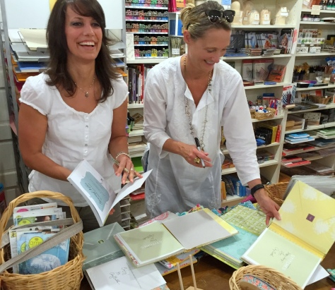 Kerry of KidGiddy and Amy Butler sign their books at Fiddlehead Artisan Supply Belfast Maine