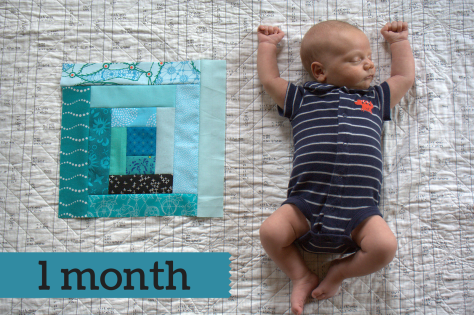Finn 1 Month quilt block teal