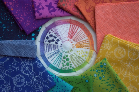 dropcloth color wheel embroidery sampler mini quilt