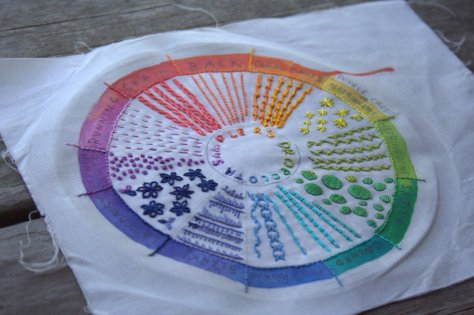 dropcloth color wheel embroider sampler finish aurifil 12wt