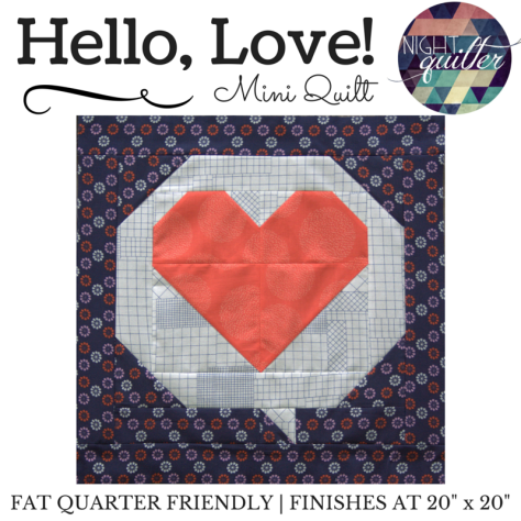 Hello Love mini quilt pattern