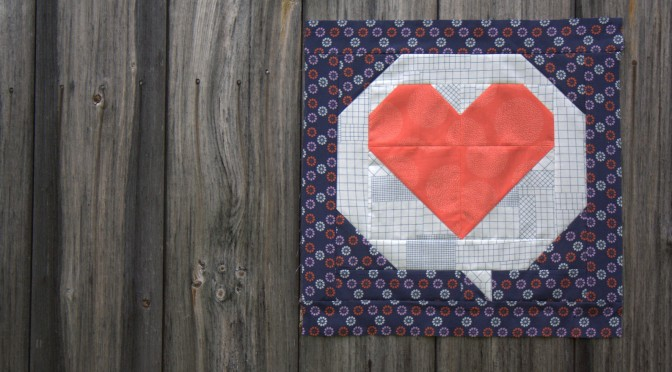 Hello Love mini quilt flimsy finish