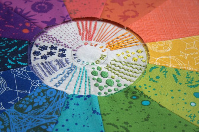 dropcloth color wheel rainbow quilt