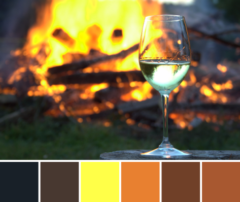 wine and bonfire color palette