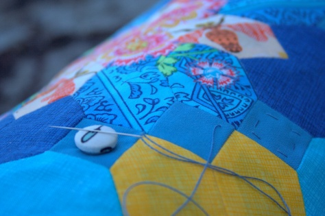 summer epp table runner hand quilting