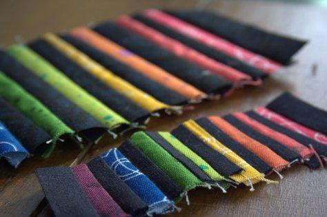 mini rainbow strips quilting