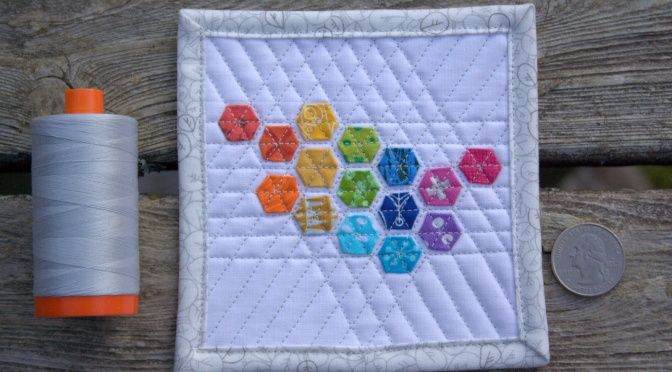 Blogger's Quilt Festival – Fall 2015 {ROYGBIV Quilt Entry: Mini Mini Modern Hexies}