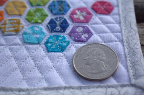 mini mini modern hexies quarter for scale