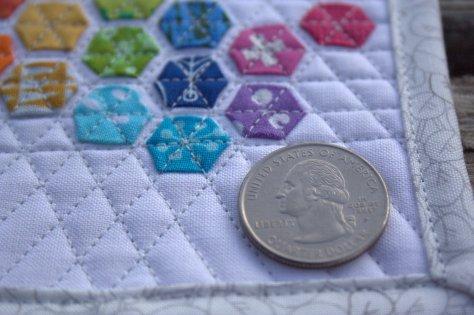 mini mini modern hexies quarter for scale