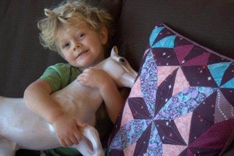 pony and kaleidoscope pillow