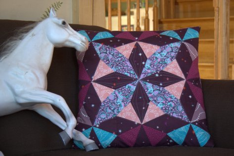 pony and kaleidoscope pillow