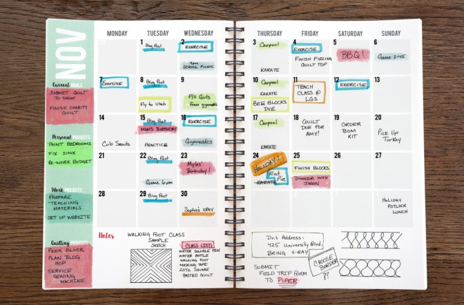 Quilters Planner Monthly Calendar