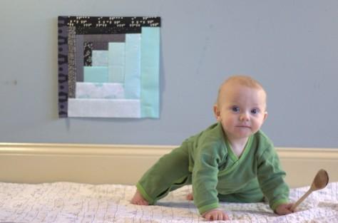 finn 7 month milestone quilt block