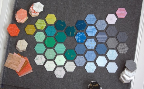 carolyn friedlander modern hexies progress