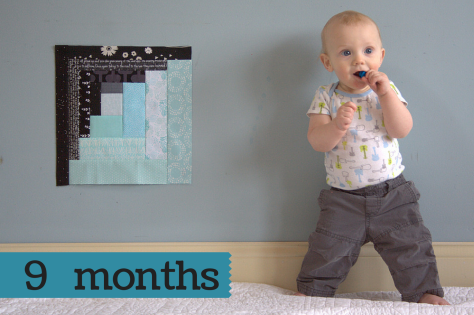 finn 9 month milestone quilt photo shoot