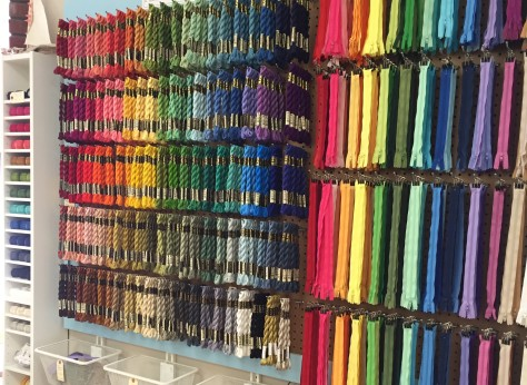 clementine rainbow wall of zippers and perle cotton