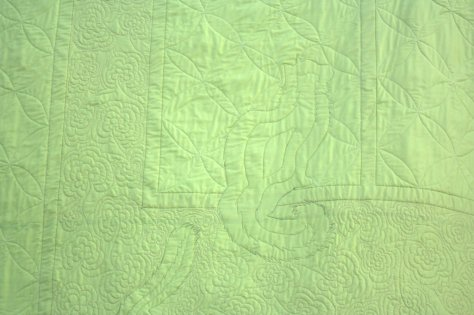 lime green quilting detail