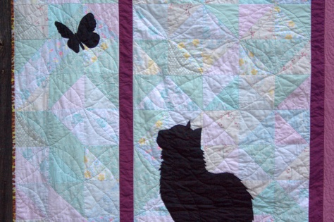 silhouette cat window butterfly quilt