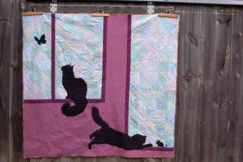 kittens at play quilt commission finish