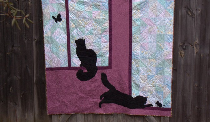 Kittens at Play: First Commissioned Quilt Finish