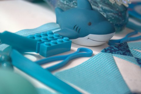 colour block challenge by gnomeangel turquoise shark