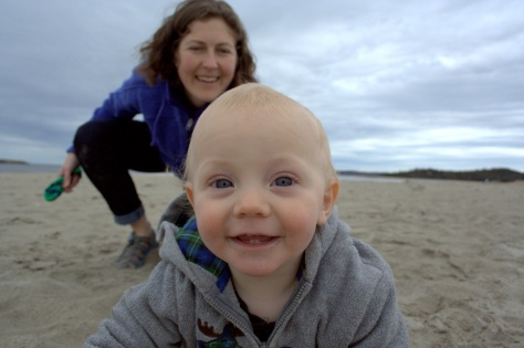 baby crawling on beach