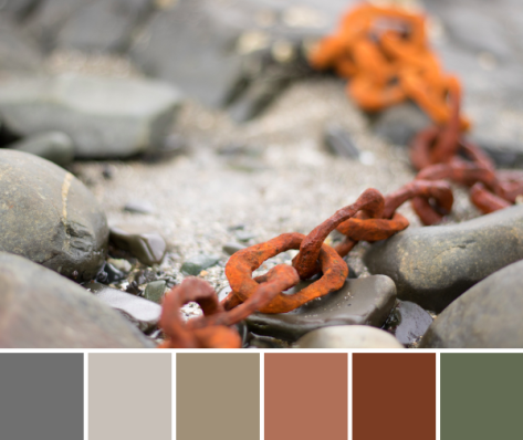 orange rusty chain color palette maine coast