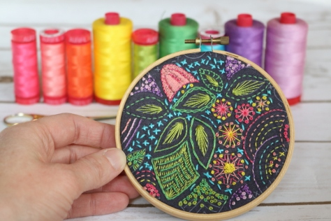 AG stitched embroidery hoop aurifil 12wt