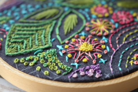 AG stitched embroidery hoop aurifil 12wt french knots