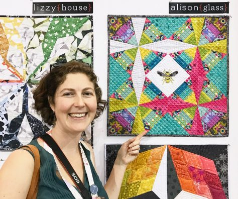 constant flux with alison glass fabric in andover booth quiltcon 2017