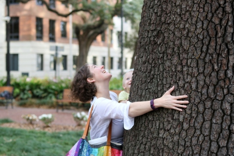 hugging trees with Finn in Savannah