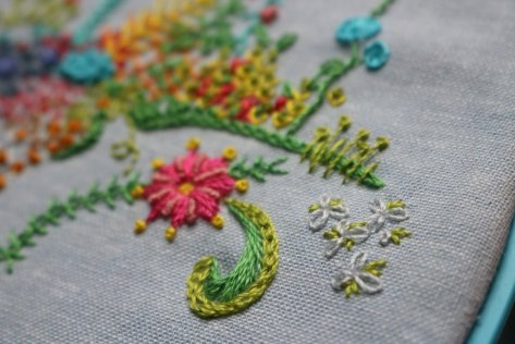 1 year of stitches freestyle embroidery progress february 12wt aurifil
