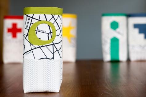 Fabric skinny bin AGF lower the volume capsule green inset improv circle