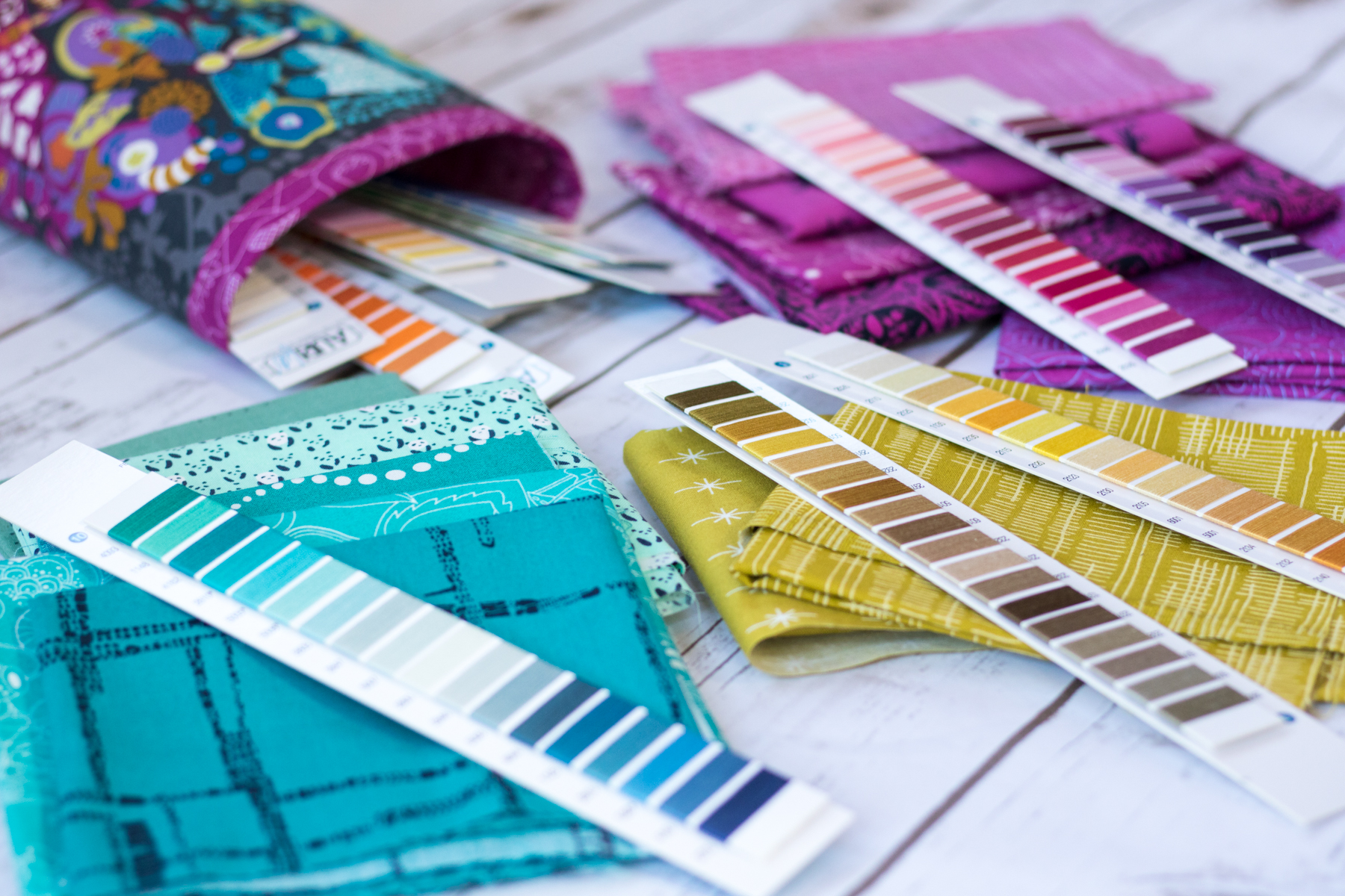 Aurifil thread strips in use skinny bin