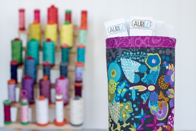 Fabric skinny bin close up aurifil thread card