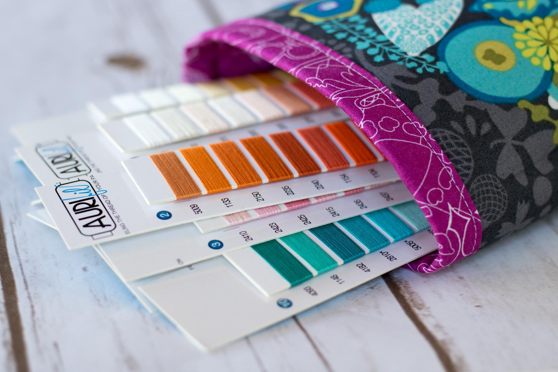 Fabric bin display aurifil thread card