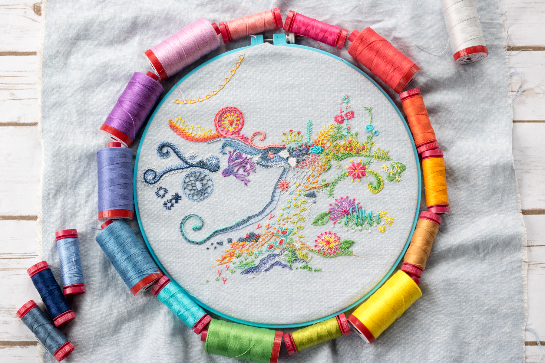 april 1 year of stitches embroidery freestyle aurifil thread
