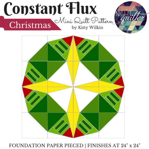 constant flux christmas bonus wreath quilting pattern