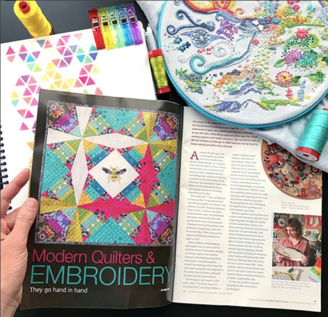 Modern Patchwork magazine nightquilter feature embroidery