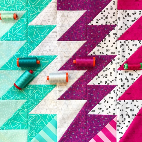 superbolt mini quilt top with aurifil threads