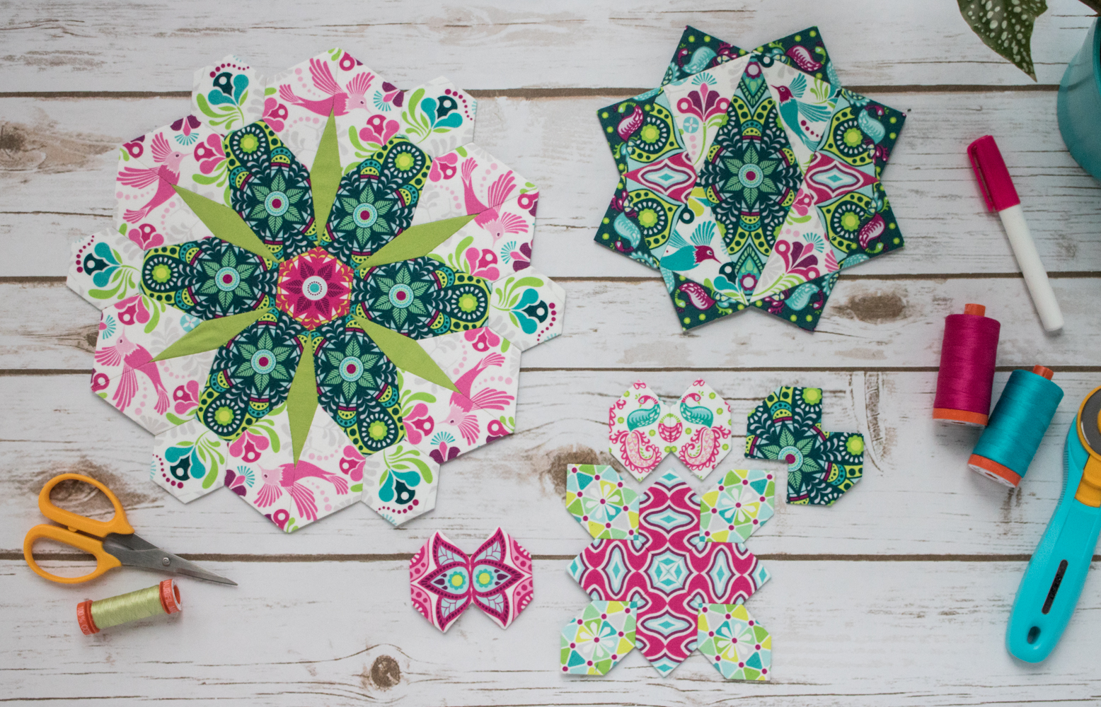 flit and bloom fabric fussy cutting epp