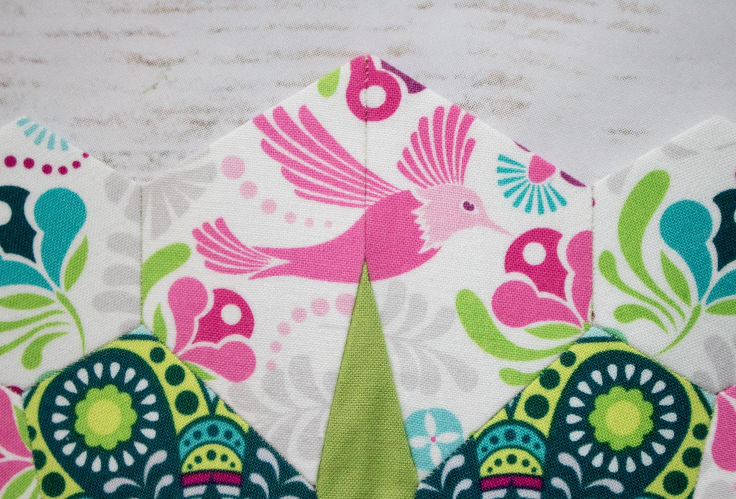hummingbird flit and bloom fabric fussy cutting flowermania epp