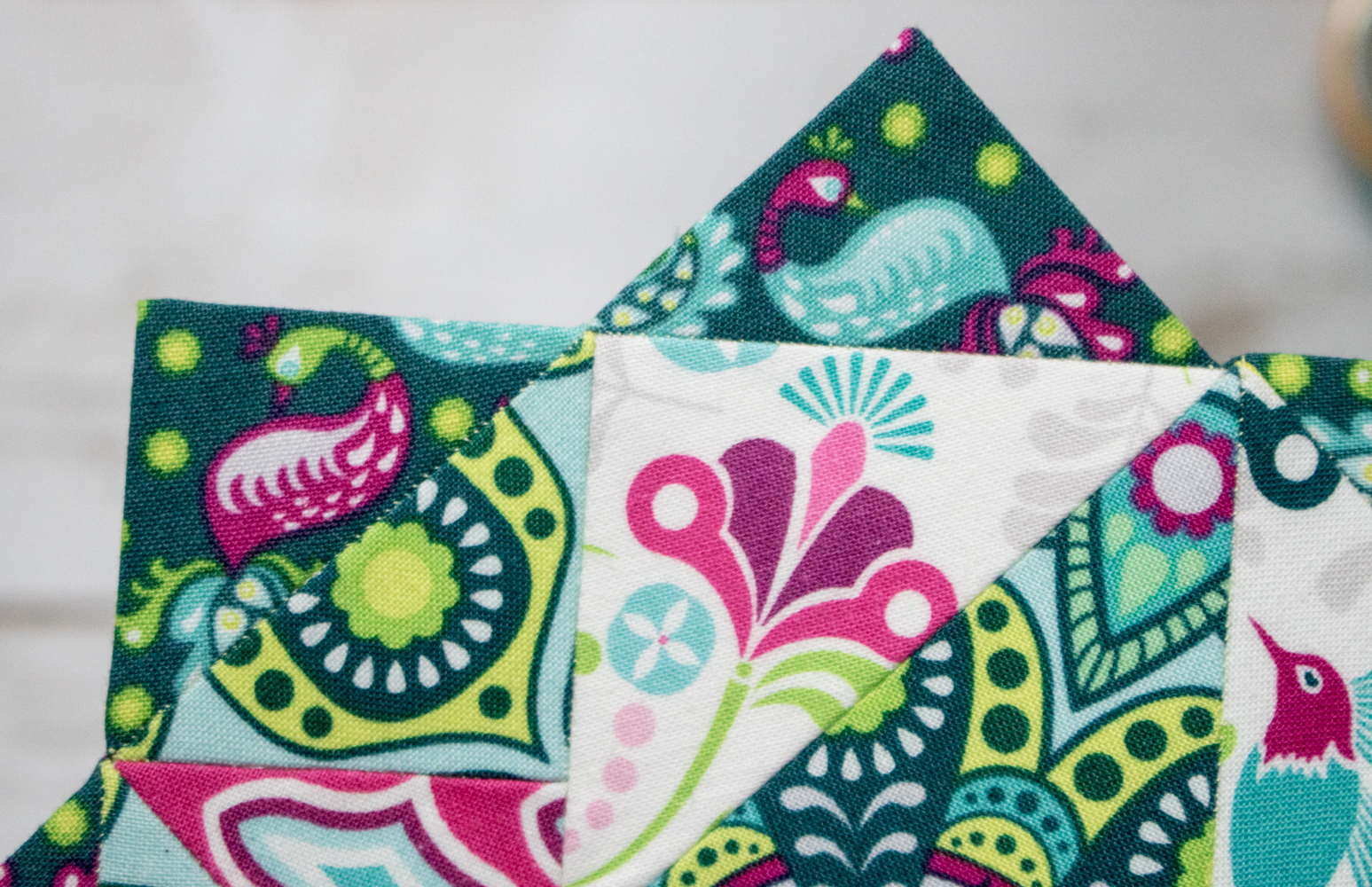 peacocks from flit and bloom fabric moonstone epp