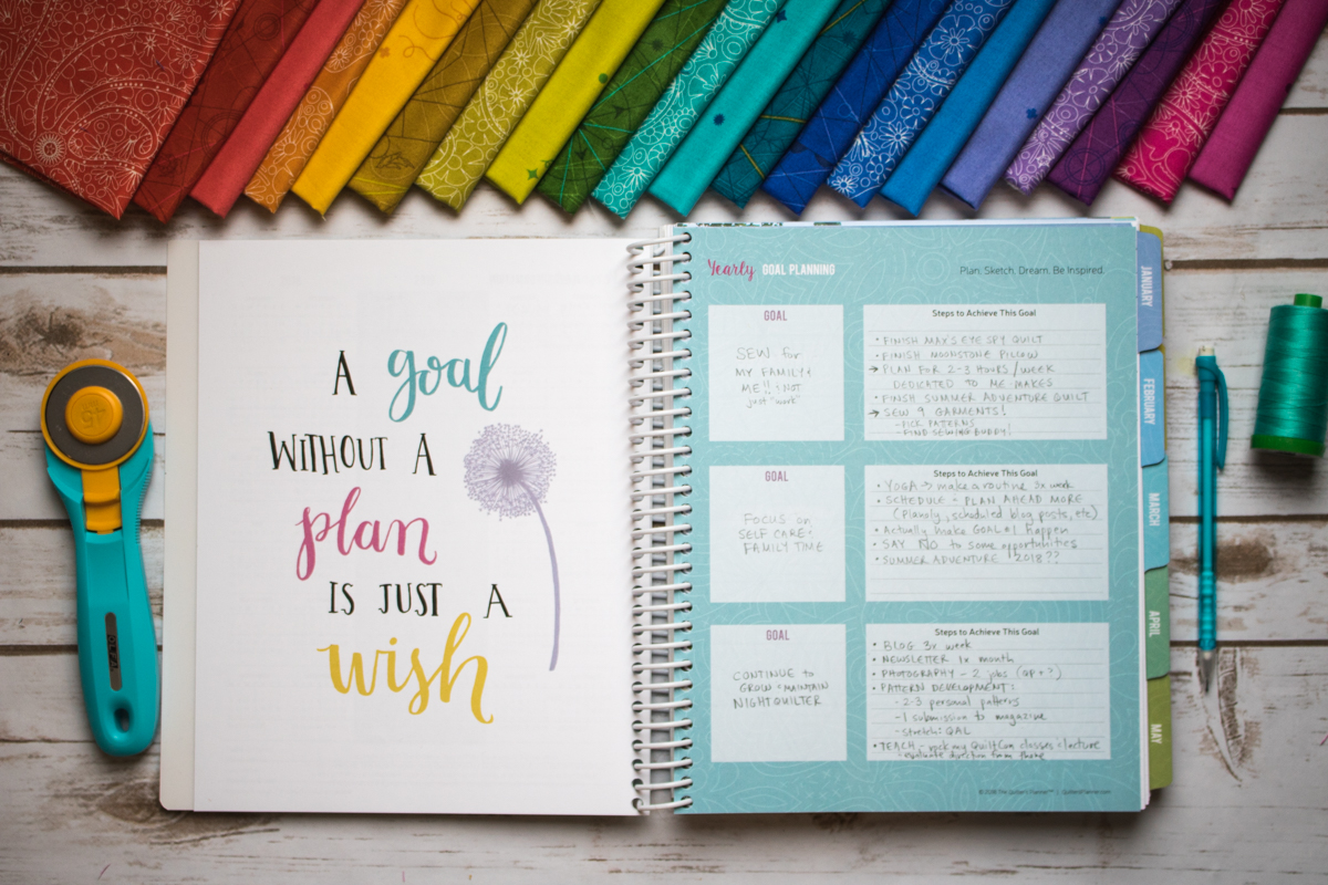 goal setting planning for new year quilter's planner